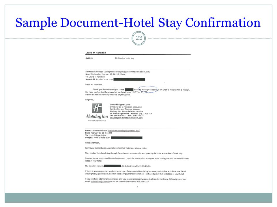 Sample Document-Hotel Stay Confirmation