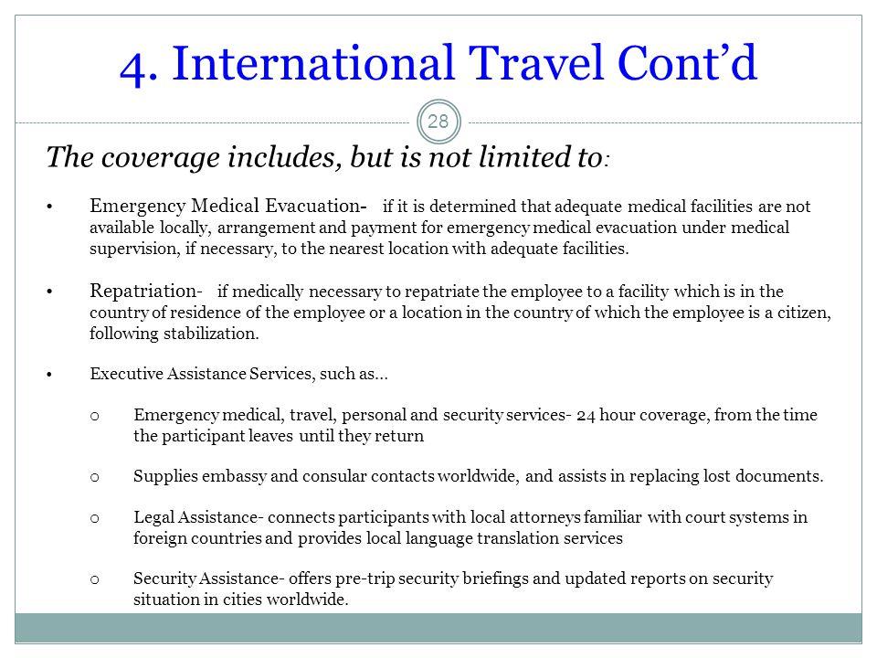 4. International Travel Cont'd