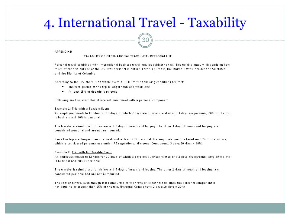4. International Travel - Taxability