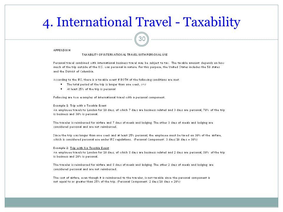 4. International Travel - Taxability