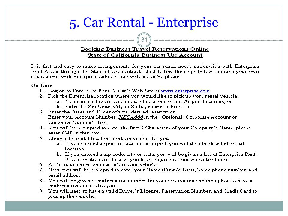 5. Car Rental - Enterprise