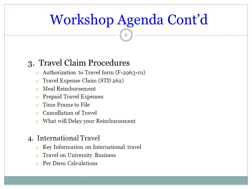 Workshop Agenda Cont'd