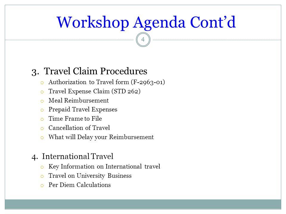 Workshop Agenda Cont'd
