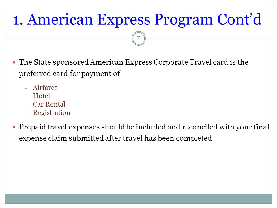 1. American Express Program Cont'd