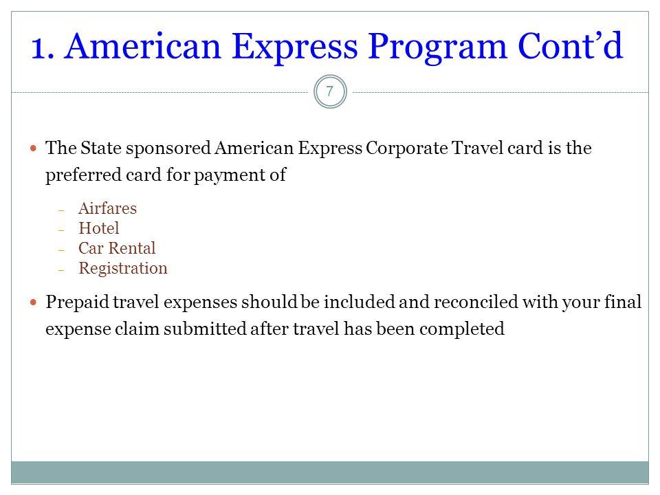 1. American Express Program Cont'd