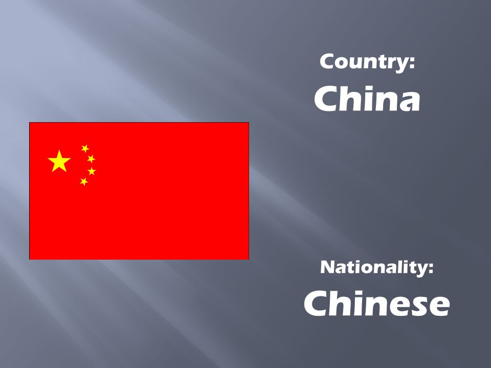 Country: China Nationality: Chinese