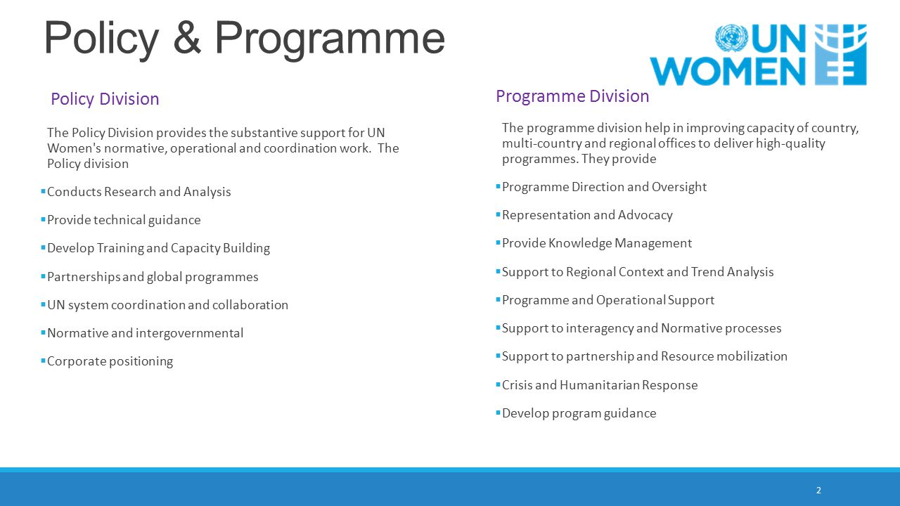Policy & Programme Programme Division Policy Division