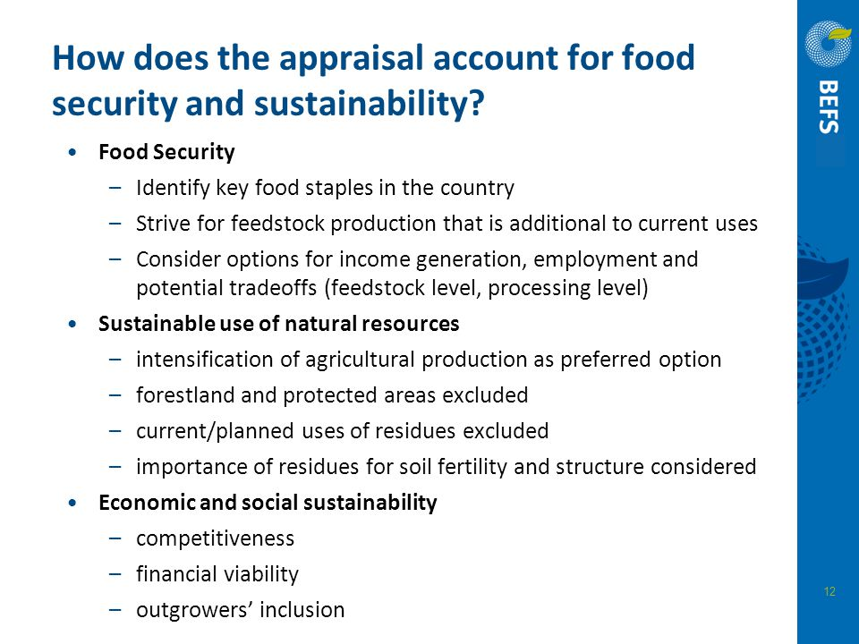 How does the appraisal account for food security and sustainability