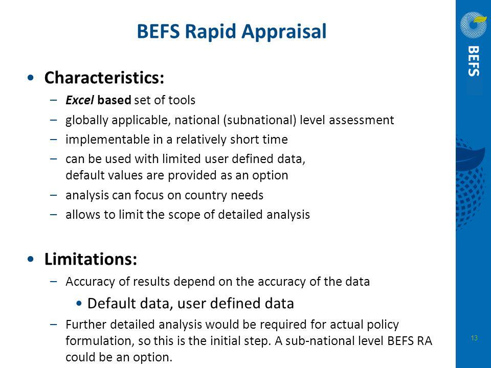 BEFS Rapid Appraisal Characteristics: Limitations: