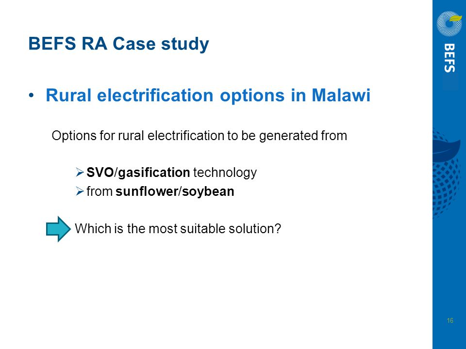 Rural electrification options in Malawi