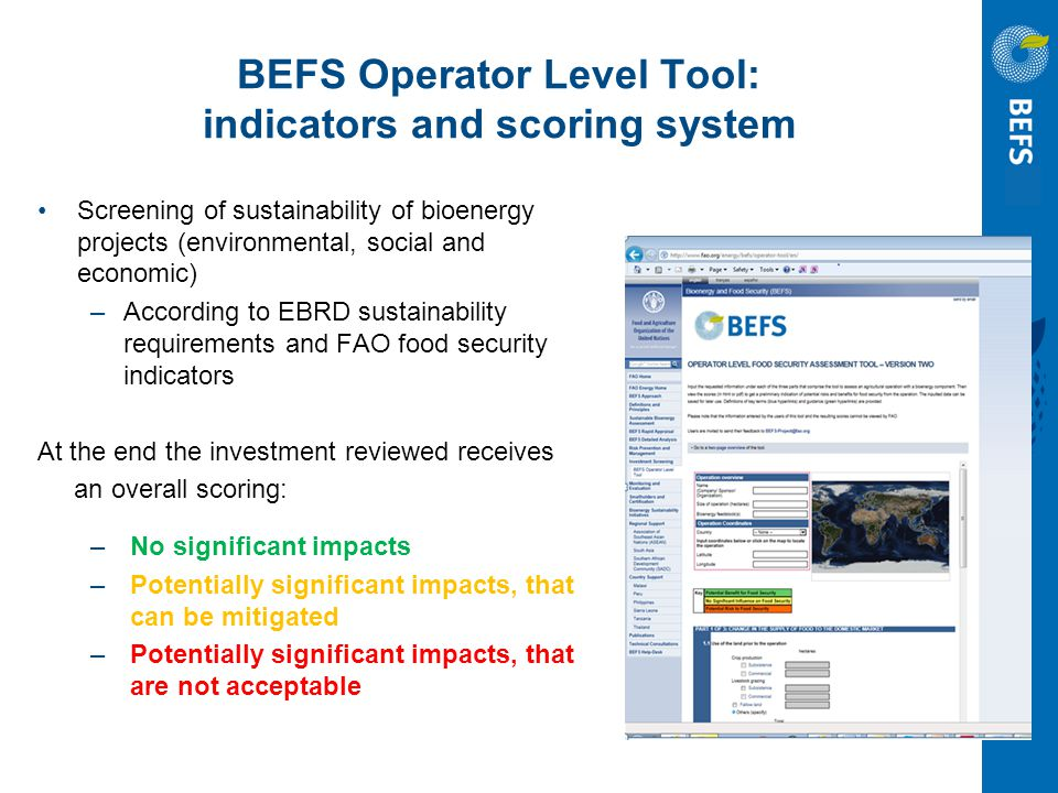 BEFS Operator Level Tool: indicators and scoring system