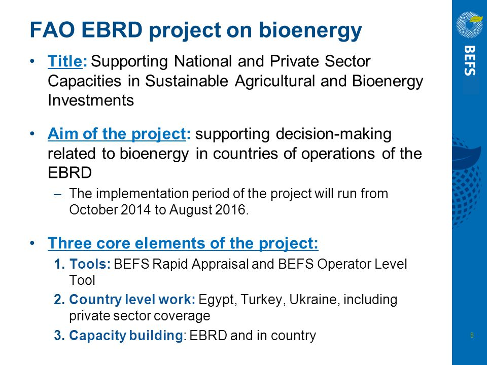 FAO EBRD project on bioenergy