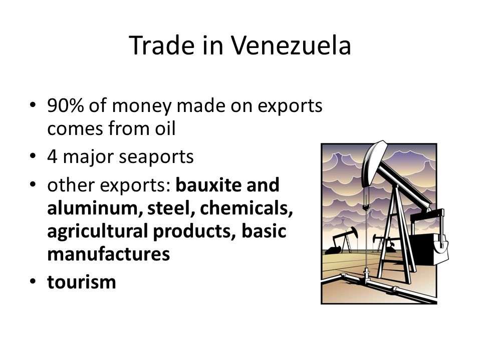 Trade in Venezuela 90% of money made on exports comes from oil
