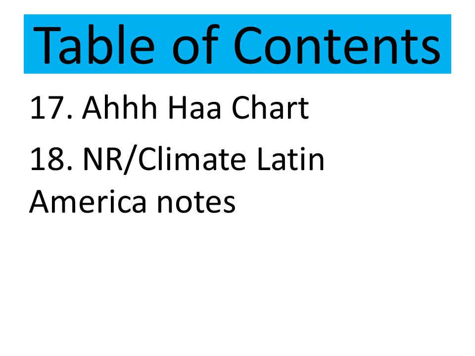 Table of Contents 17. Ahhh Haa Chart