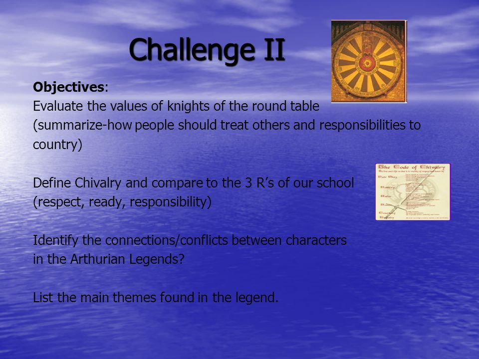 Challenge ii objectives ppt download for 12 knights of the round table characters