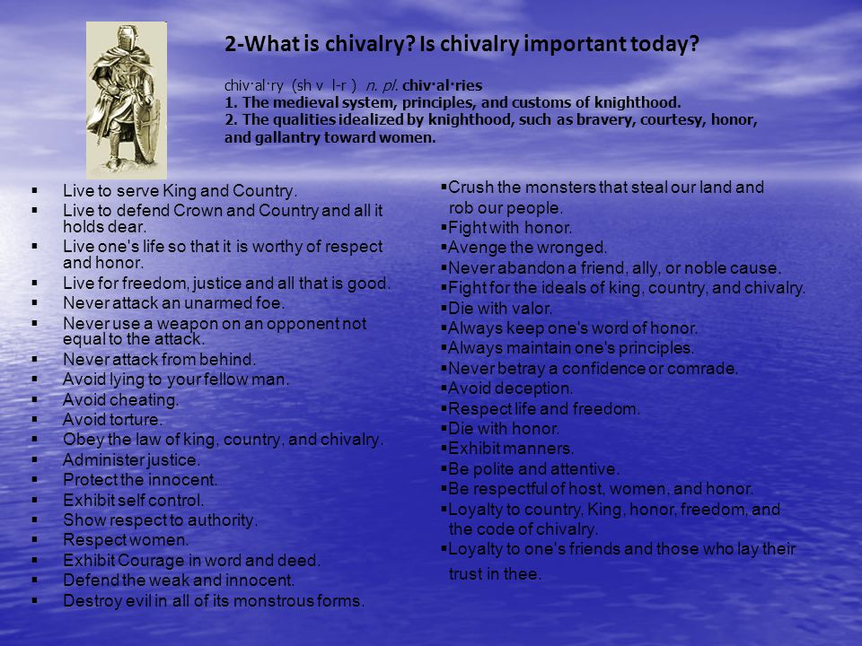 2-What is chivalry Is chivalry important today