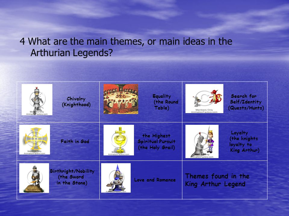 4 What are the main themes, or main ideas in the Arthurian Legends