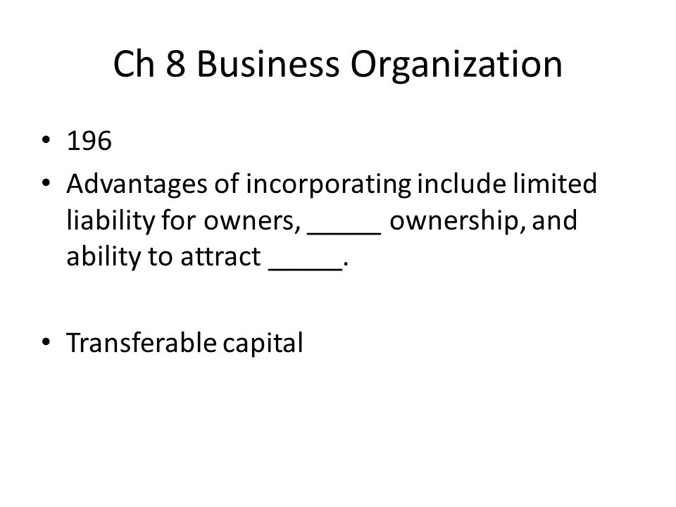 Ch 8 Business Organization