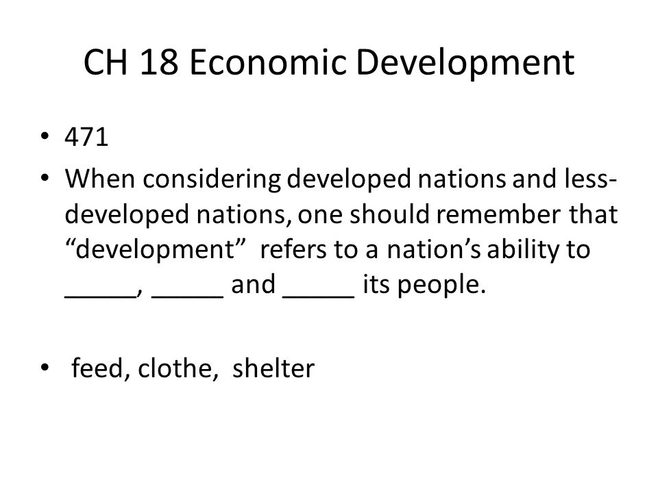 CH 18 Economic Development