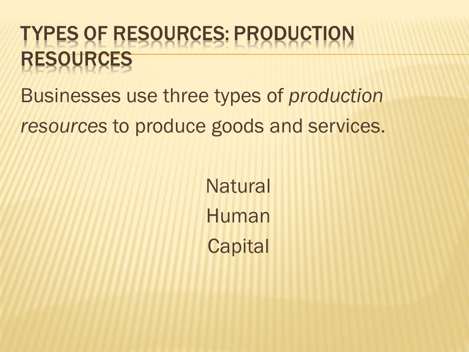 Types of resources: Production Resources