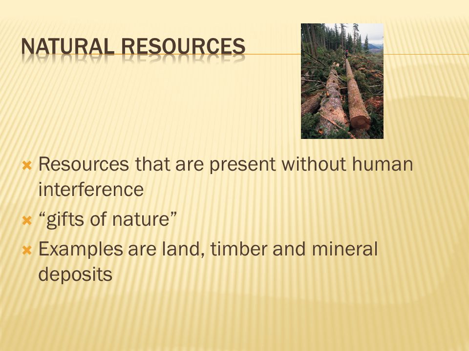 Natural Resources Resources that are present without human interference.