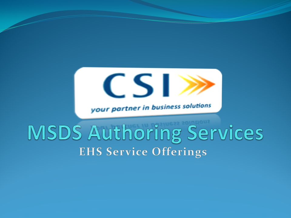 MSDS Authoring Services