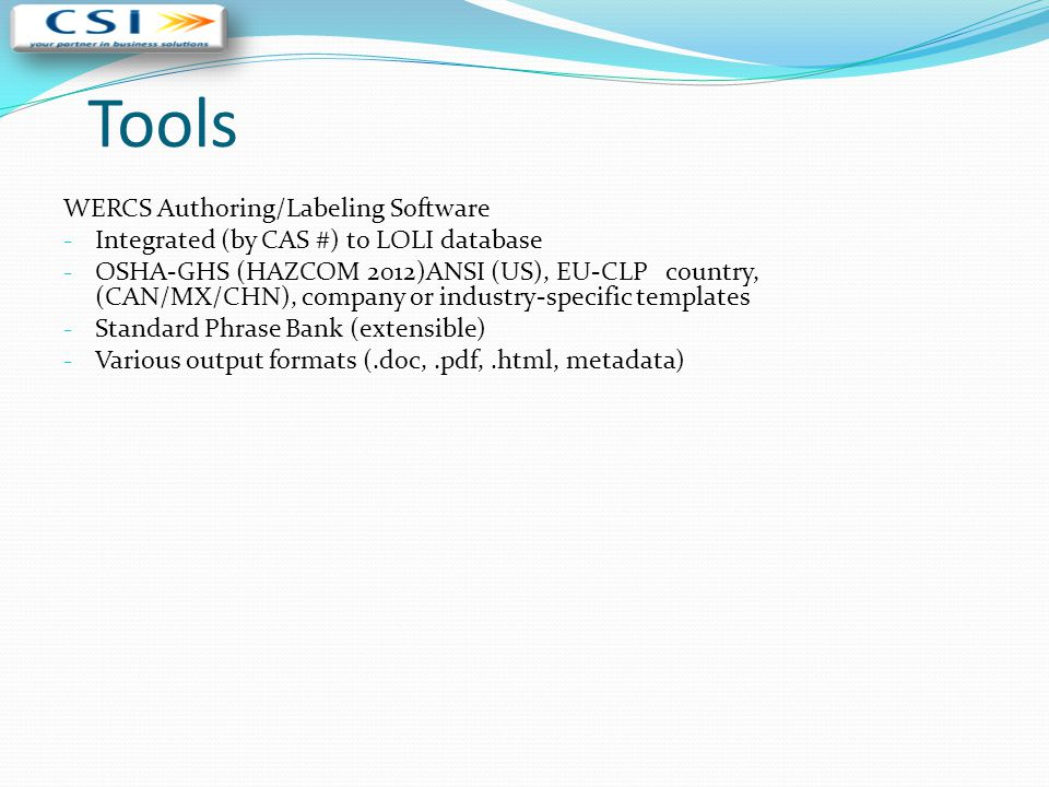 Tools WERCS Authoring/Labeling Software