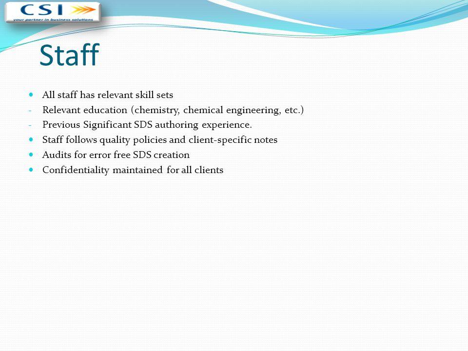 Staff All staff has relevant skill sets