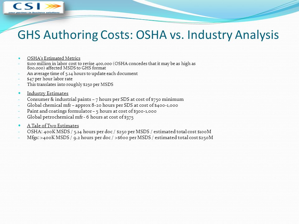 GHS Authoring Costs: OSHA vs. Industry Analysis