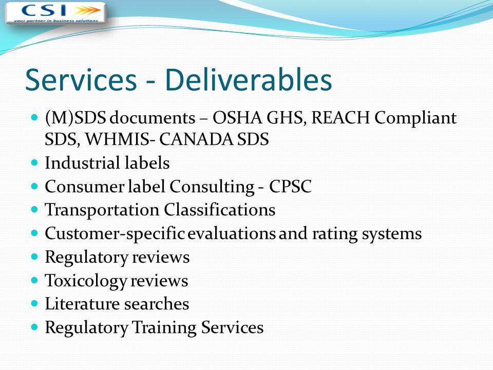 Services - Deliverables