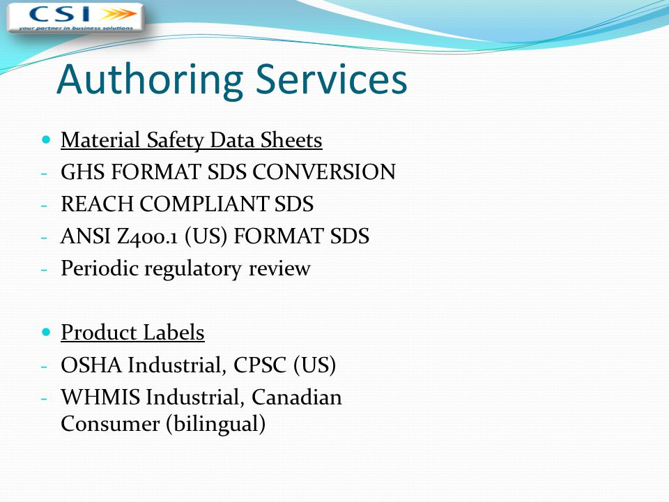 Authoring Services Material Safety Data Sheets