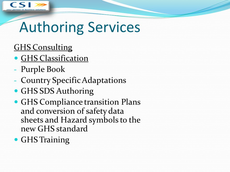 Authoring Services GHS Consulting GHS Classification Purple Book