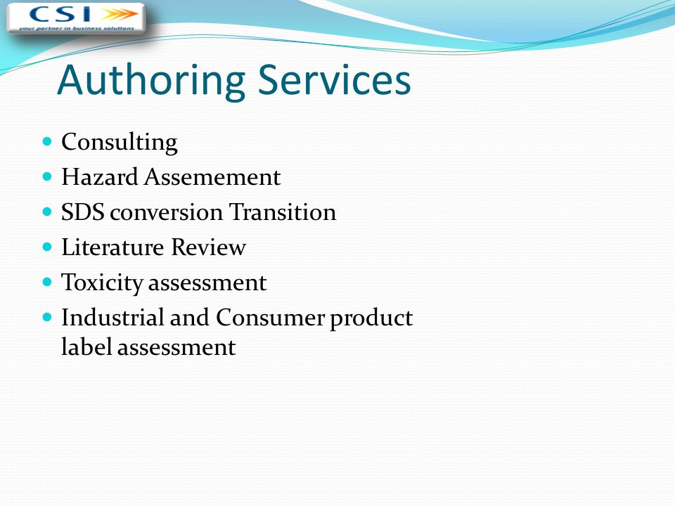 Authoring Services Consulting Hazard Assemement