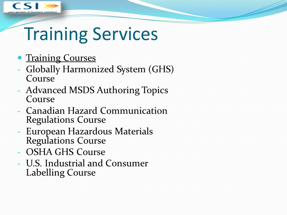 Training Services Training Courses