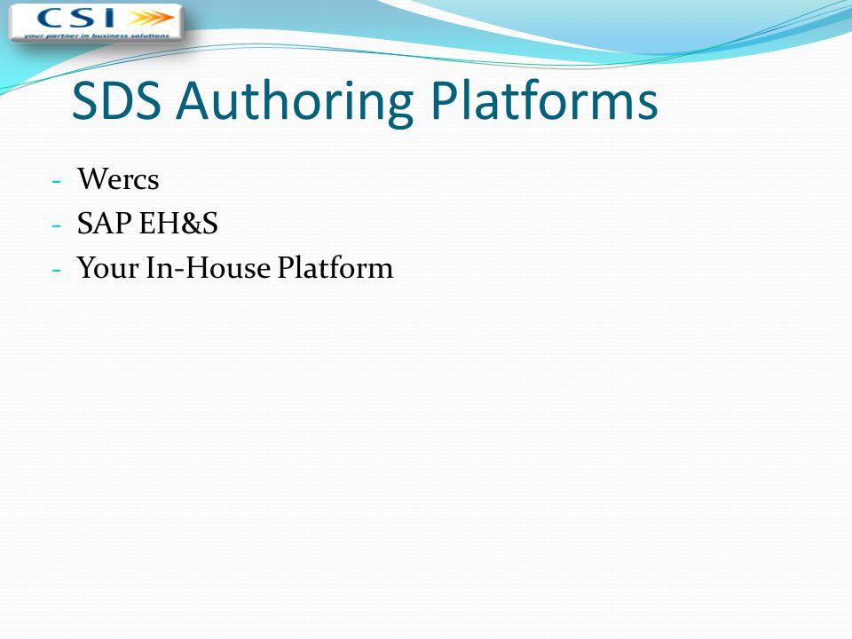 SDS Authoring Platforms