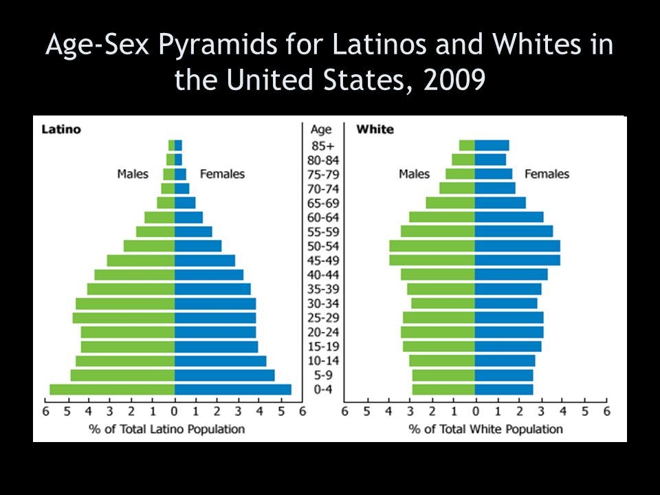 Age-Sex Pyramids for Latinos and Whites in the United States, 2009