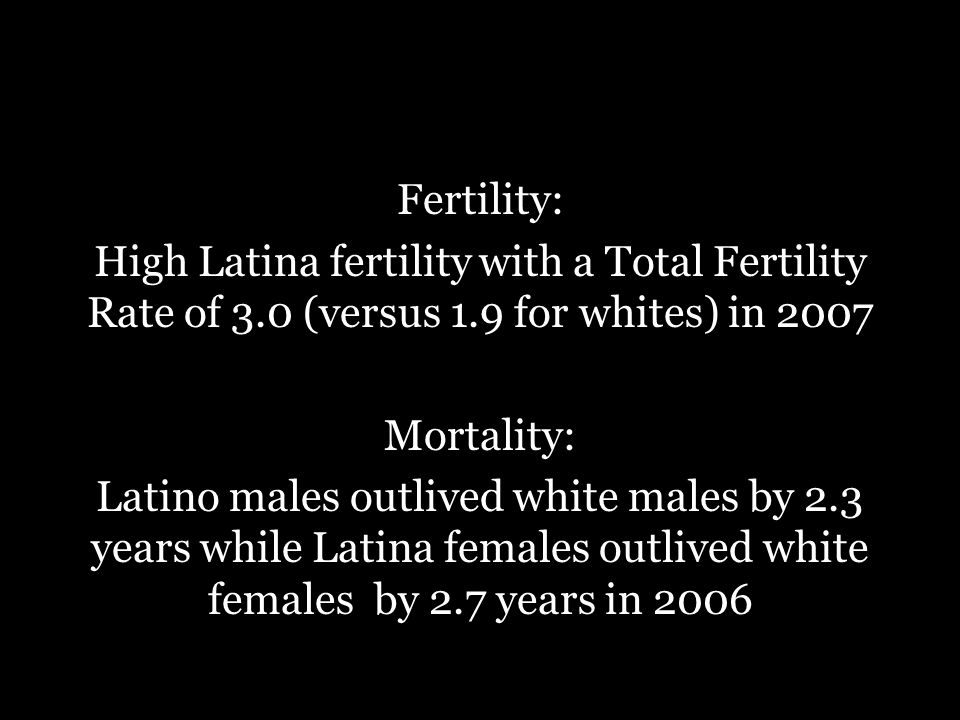 Fertility: High Latina fertility with a Total Fertility Rate of 3