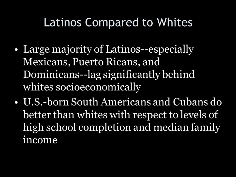 Latinos Compared to Whites