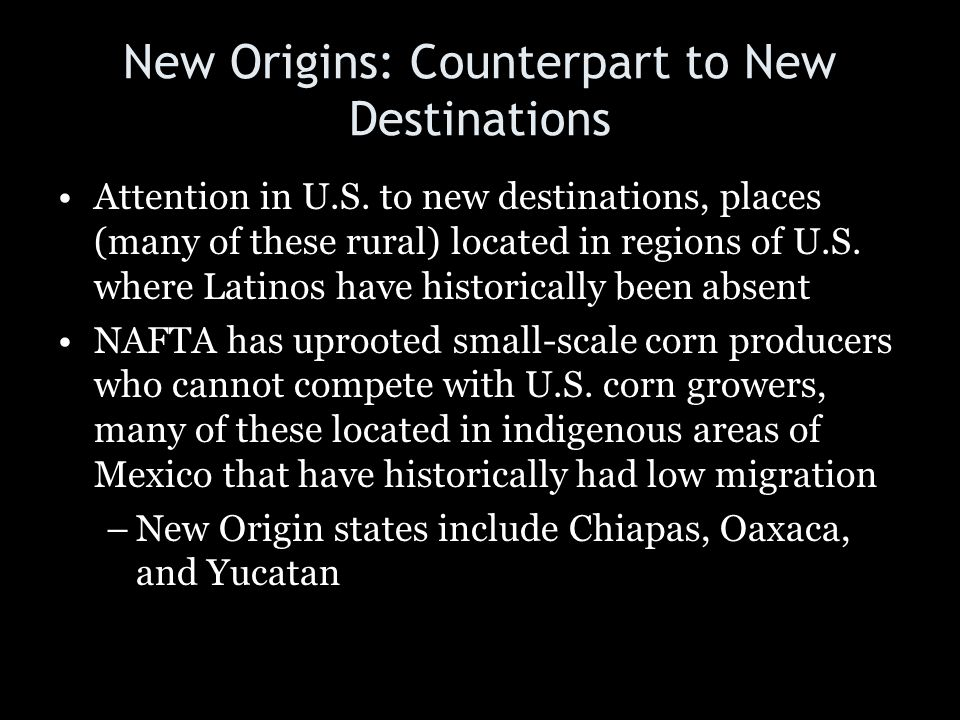 New Origins: Counterpart to New Destinations