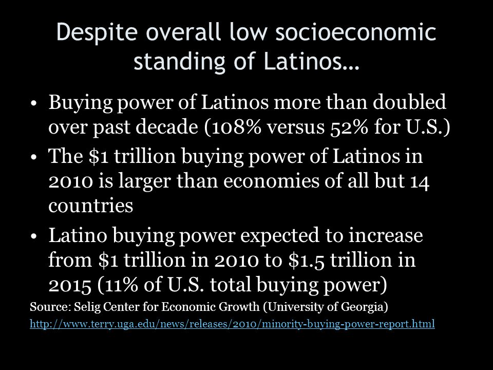 Despite overall low socioeconomic standing of Latinos…