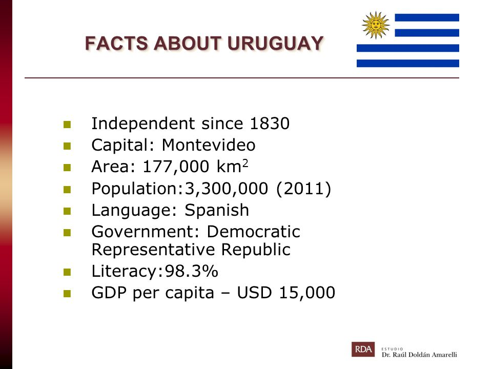FACTS ABOUT URUGUAY Independent since 1830 Capital: Montevideo