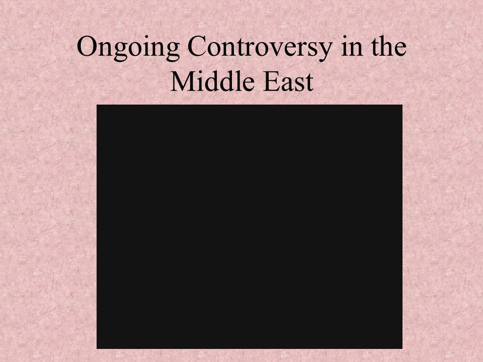 Ongoing Controversy in the Middle East