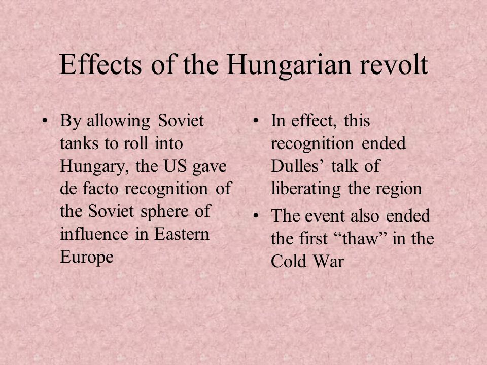 Effects of the Hungarian revolt