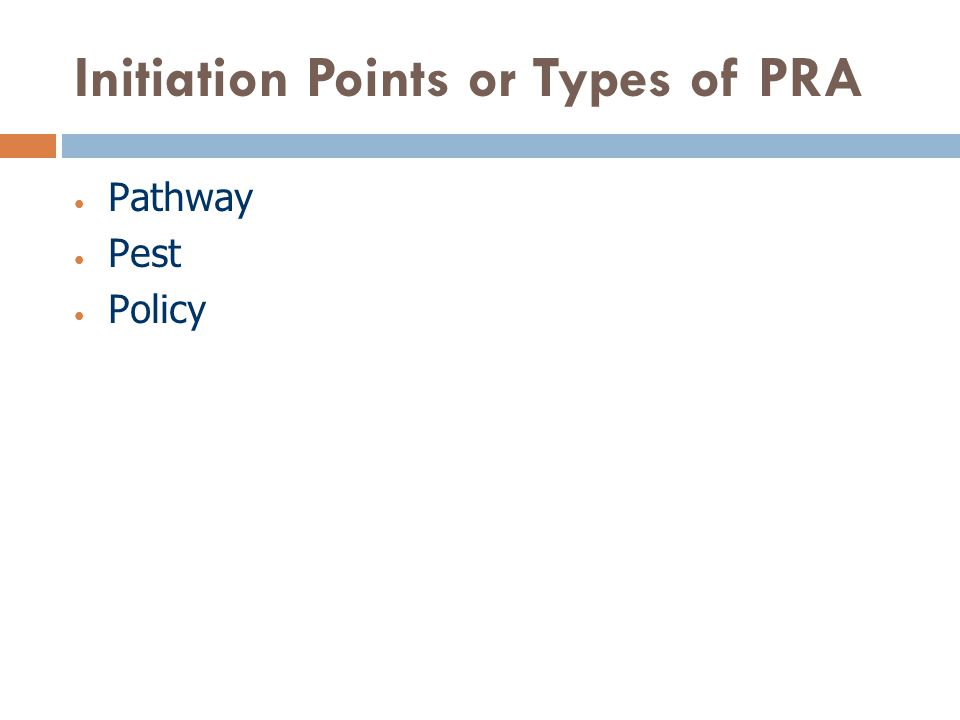 Initiation Points or Types of PRA