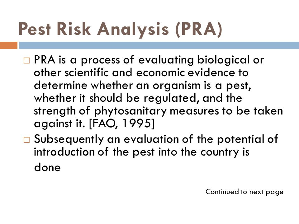 Pest Risk Analysis (PRA)