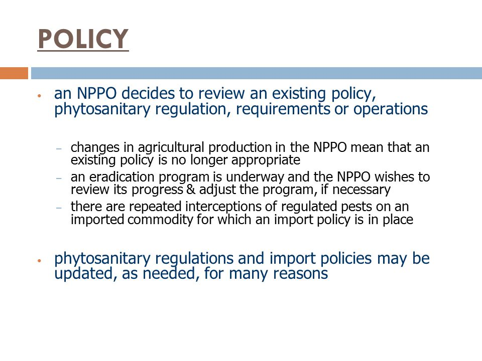 POLICY an NPPO decides to review an existing policy, phytosanitary regulation, requirements or operations.