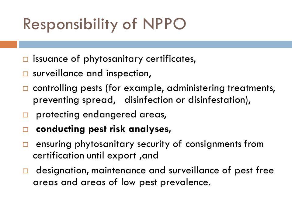 Responsibility of NPPO