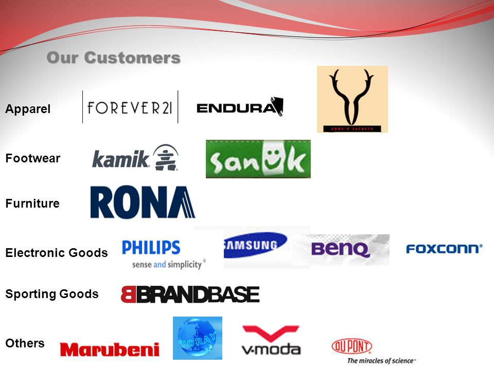 Our Customers Apparel Footwear Furniture Electronic Goods