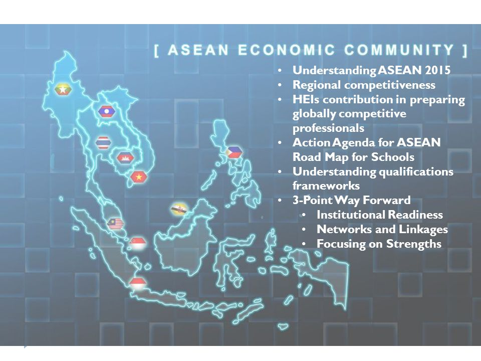Understanding ASEAN 2015 Regional competitiveness. HEIs contribution in preparing globally competitive professionals.