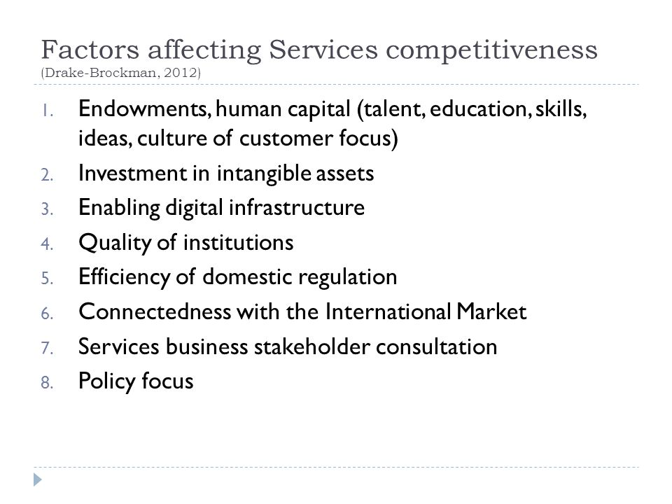 Factors affecting Services competitiveness (Drake-Brockman, 2012)